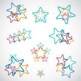 Set bunte Sterne Stock Abbildung