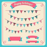 Set of bunting and garland, with banners Royalty Free Stock Photos