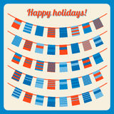 Set of bunting and garland, with banners. Set of bunting and garland in retro colors with banners. Vector illustration. Design elements - holiday flags and Royalty Free Stock Image