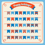 Set of bunting and garland, with banners. Set of bunting and garland in retro colors with banners. Vector illustration. Design elements - holiday flags and Stock Photography