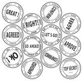 Set of bureaucratic stamps - vector illustration Royalty Free Stock Images