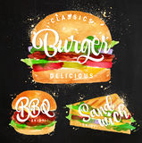Set Burger chalk Royalty Free Stock Images