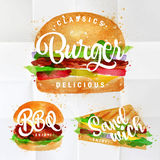 Set Burger. Set of classic burger, bbq burger and sandwich drawing with color paint on crumpled paper Stock Photo