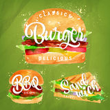 Set Burger green. Set of classic burger, bbq burger and sandwich drawing with color paint on green background Royalty Free Stock Photo