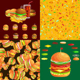 Set of burger grilled beef and fresh vegetables dressed with sauce bun for snack, american hamburger fast food barbecue Royalty Free Stock Image