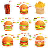 Set of burger grilled beef vegetables dressed with sauce bun snack, hamburger fast food meal menu barbecue meat with Stock Photos
