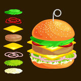 Set of burger grilled beef vegetables dressed with sauce bun snack, hamburger fast food meal menu barbecue meat with vector illustration