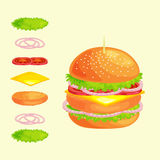 Set of burger grilled beef vegetables dressed with sauce bun snack, hamburger fast food meal menu barbecue meat with Royalty Free Stock Image