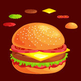 Set of burger grilled beef vegetables dressed with sauce bun snack, hamburger fast food meal menu barbecue meat with Stock Image