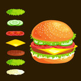 Set of burger grilled beef vegetables dressed with sauce bun snack, hamburger fast food meal menu barbecue meat with Stock Photo