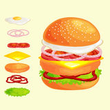 Set of burger grilled beef vegetables dressed with sauce bun snack, hamburger fast food meal menu barbecue meat with Royalty Free Stock Photos
