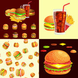 Set of burger grilled beef vegetables dressed with sauce bun snack, hamburger fast food meal menu barbecue meat with Stock Images