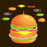 Set of burger grilled beef vegetables dressed with sauce bun snack, hamburger fast food meal menu barbecue meat with Royalty Free Stock Photography