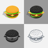 Set of burger icons. Vector illustration. Set of burger icons. Traditional, black, silhouette, contour hamburgers Isometric 3D Stock Photos