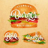 Set Burger kraft. Set of classic burger, bbq burger and sandwich drawing with color paint on kraft background Royalty Free Stock Images