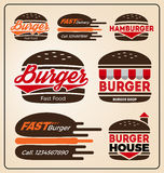 Set of burger shop icon logo design. For branding, sticker, decoration product, insignia, tags. Vector illustration Stock Images