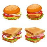 Set of burgers hamburgers and cheeseburgers with buns and bread. Set of burgers hamburgers and cheeseburgers with buns covered by sesame, loaves of toasted bread vector illustration