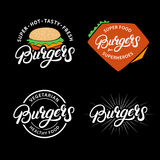 Set Burgers hand written lettering logos, badges, labels, emblems. Royalty Free Stock Photography