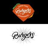 Set Burgers hand written lettering logos, badges, labels, emblems. Stock Photography