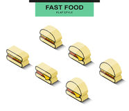Set the burgers in isometric projection. Vector Royalty Free Stock Photography