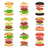 Set of burgers and sandwiches with flying ingredients. Tasty fast food. Delicious snack. Flat vector design for mobile vector illustration