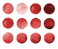 Set of burgundy, brown color watercolor hand painted circle  on white. Illustration for artistic design. Round stains, blo Stock Photography