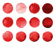 Set of burgundy, brown color watercolor hand painted circle  on white. Illustration for artistic design. Round stains, blo Royalty Free Stock Images