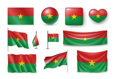 Set Burkina Faco flags, banners, banners, symbols, ralistic icon stock illustration