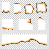 Set of burned pieces of paper Royalty Free Stock Images