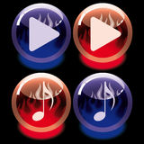Set of burning buttons Royalty Free Stock Images