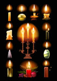 Set of burning candles: classic, in holder, on candlestick, Christmas. Set of burning candles: classic, in a holder and on a candlestick, melted, Christmas royalty free illustration