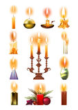 Set of burning candles: classic, in holder, on candlestick, Christmas. Set of burning candles: classic, in a holder and on a candlestick, melted, Christmas Stock Photos