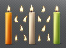 Set of burning candles with different flames. Vanilla, orange and green paraffin or wax on transparent background. Illustration royalty free illustration