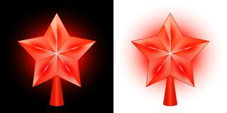 Set of burning Christmas stars for a Christmas tree on a black and light background. royalty free illustration