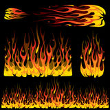 Set of burning fire elements Stock Photos