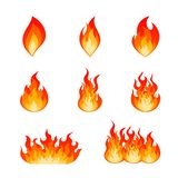 Set of burning fire flame and hot blazing bonfire. Collection of flat vector flare flames and bonfire. Nine type of burning fire flame and hot blazing campfire vector illustration