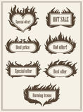 Set of burning fire frame borders hot sale and best offer symbols vector illustration. Eps10 Stock Photos