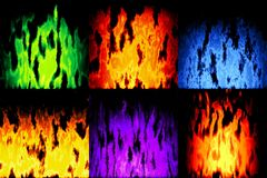 Set of burning fire generated textures Royalty Free Stock Image