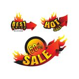 The set of burning labels discount 50% and tags for hot sale. ba. Nner. marketing. Business. on white background. vector Stock Photography