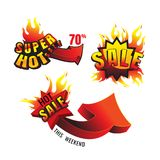 The set of burning labels discount 70% and tags for hot sale. ba. Nner. marketing. Business. on white background. vector Royalty Free Illustration