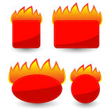 Set of Burning Paper Red Stickers Stock Image