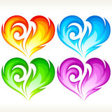 Set of burning vector hearts. Set of burning vector heart. Red, blue, green and purple symbol of love Stock Photography