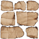 Set of burnt cardboards Royalty Free Stock Photography