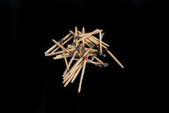 Set of burnt match at different stages isolated on black background. with clipping path Stock Photos