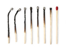 Set of burnt match. At different stages isolated on white background. with clipping path royalty free stock photos