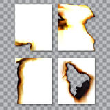 Set of burnt sheets of paper with ash. Damage edge and destroyed sheet. On transparent background  illustration. Royalty Free Stock Photo