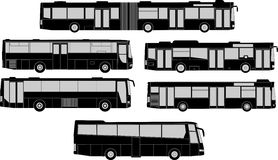 Set of bus silhouettes Stock Photography