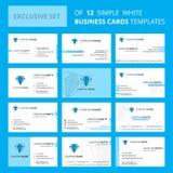 Set 12 Busienss karty Diamentowy Kreatywnie szablon Editable Kreatywnie logo i Odwiedzać karcianego tło ilustracja wektor