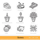 Set of Busines Outline Web Icons Royalty Free Stock Image