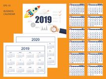 Set business american calendar for desk 2019, 2020 stock image